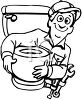Plumber Holding a New Toilet clipart