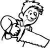 Man Using a Saw clipart