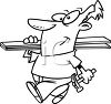 Man Carrying Lumber and a Hammer clipart
