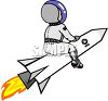 Astronaut on the Outside of a Rocket clipart