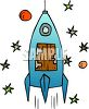 Rocket with a Wooden Door clipart