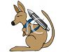 Kangaroo with a Rocket on It's Back clipart