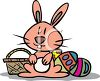 Cute Easter Bunny with a Basket and Eggs clipart