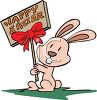 Little Pink Bunny Holding a Wooden Sign for Happy Easter clipart