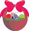 Red Easter Basket with a Big Bow clipart