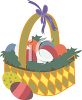 Easter Eggs Nestled in Grass in a Basket clipart
