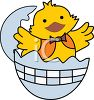 Happy Little Chick Hatching  clipart