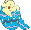 Chick Sleeping in His Easter Egg clipart