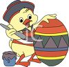 Baby Chick Painting an Easter Egg clipart