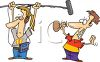 Guy Playing a Trick on a Boom Operator  clipart