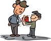 Boy Giving His Dad a Gift on Father's Day clipart