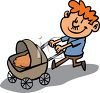 Proud Dad Pushing His Baby in a Carriage clipart