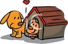 Father Dog with His Pup by Their Dog House clipart