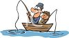 Father and Son Fishing in a Rowboat clipart