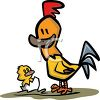 Rooster Watching His Son Hatch clipart