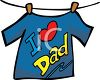 I Love Dad Tee Shirt Hanging on a Clothesline clipart