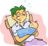 Exhausted New Dad Holding His Sleeping Son clipart