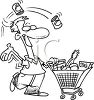 Man Grocery Shopping clipart