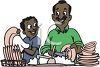 African American Man and His Son Doing Dishes clipart