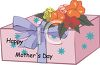 Wrapped Mother's Day Gift with Flowers clipart