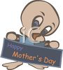Baby Chick Holding a Happy Mother's Day Sign clipart