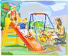Woman Playing with Her Kids at a Playground clipart