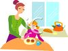 Woman Giving Her Daughter an After School Snack clipart
