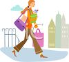 Woman Shopping with Her New Baby in a Sling clipart