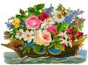 Flower Arrangement with Daisies, Roses, Hyacinth and Fuschia clipart