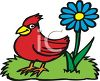 Red Bird and a Blue Flower clipart