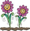 Smiling Flowers Growing in Soil clipart