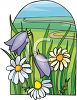 Bluebells and Daisies Growing in a Field clipart