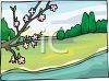 Blossoms Growing on a Branch Over a Stream clipart