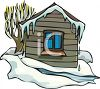 Small Cabin in the Melting Snow clipart