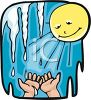 Spring Sun Melting Icicles into a Child's Hands clipart
