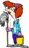 Unhappy Woman Holding a Mop clipart