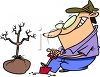 Man Digging a Hole for His New Tree clipart
