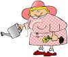 Fat Lady Watering Her Plants clipart