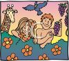 Joyful Adam and Eve in the Garden of Eden clipart