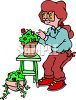 Woman Planting Houseplants clipart