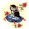 Kitty on a Cushion with Roses clipart