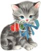 Striped Kitten with a Rose In It's Mouth clipart