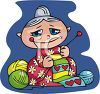 Granny Knitting a Scarf clipart