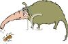 Cartoon of an Anteater Sucking Up an Ant clipart