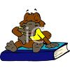 Cartoon of a Platypus Sitting on a Book clipart