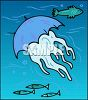 Jellyfish Swimming with Fish clipart