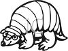 Black and White Cartoon Armadillo clipart