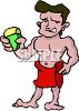Naked Guy Wearing a Towel clipart