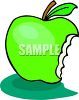 Green Apple Missing a Bite clipart