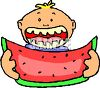 Boy Eating Watermelon clipart